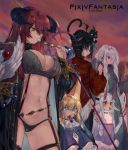 1boy 4girls animal_ears armor bare_shoulders belt black_eyes black_hair blonde_hair blue_eyes blush breasts cat cleavage comic dress eating elbow_gloves food gloves hair_between_eyes hair_over_one_eye highres holding holding_staff horns long_hair multiple_girls navel obiwan pixiv_fantasia pixiv_fantasia_last_saga pointy_ears red_eyes redhead sidelocks sleeves_past_wrists staff thumbs_up white_gloves white_hair yellow_eyes