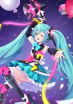 1girl ;d ahoge arm_up balloon black_footwear black_sleeves blue_bow blue_eyes blue_hair blue_skirt boots bow detached_sleeves floating_hair frilled_skirt frills hair_between_eyes hair_bow hatsune_miku highres holding layered_skirt long_hair long_sleeves magical_mirai_(vocaloid) megaphone mikmix miniskirt one_eye_closed open_mouth outstretched_arm outstretched_hand pink_bow skirt smile solo thigh-highs thigh_boots twintails very_long_hair vocaloid white_bow white_legwear yellow_bow