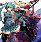 1girl aqua_eyes aqua_hair bangs bare_shoulders black_footwear black_legwear black_skirt blue_neckwear boots clenched_hand commentary_request detached_sleeves eyebrows_visible_through_hair flag grey_shirt hair_ornament hand_up hatsune_miku headset holding holding_flag long_hair necktie number_tattoo open_mouth pleated_skirt shirt shoulder_tattoo skirt sleeveless sleeveless_shirt standing tattoo thigh-highs thigh_boots thighs twintails vocaloid yuya zaku_ii_s_char_custom