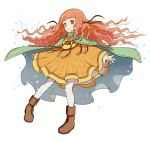 1girl boots cape fire_emblem fire_emblem:_akatsuki_no_megami full_body gonzarez hair_ornament highres long_hair nintendo orange_hair parted_lips red_eyes simple_background solo white_background white_legwear yune