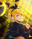 1girl 2018 artist_name black_hairband black_sailor_collar black_shirt blonde_hair blue_eyes bow crop_top dated from_behind frown hair_bow hairband headphones heterochromia highres holding kagamine_rin long_sleeves looking_at_viewer looking_back midriff mikmix rettou_joutou_(vocaloid) sailor_collar shirt short_hair solo upper_body vocaloid