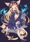 1girl abigail_williams_(fate/grand_order) absurdres animal_ears black_background black_bow black_dress black_headwear blonde_hair blue_footwear bow bug butterfly cat_day cat_ears cat_tail commentary_request dress fate/grand_order fate_(series) frilled_sleeves frills highres insect kemonomimi_mode long_hair mary_janes orange_bow shoes sleeves_past_wrists solo stuffed_animal stuffed_cat stuffed_toy tail tail_bow twitter_username white_bloomers yumenouchi_chiharu