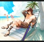 bare_chest beach brown_hair djeeta_(granblue_fantasy) gran_(granblue_fantasy) granblue_fantasy high_heels highres hood hood_down hoodie legs_crossed looking_at_viewer lyria_(granblue_fantasy) male_focus nandemo3f navel ocean outdoors red_eyes sand sandalphon_(granblue_fantasy) short_hair sunglasses swimsuit tropical_drink vee_(granblue_fantasy) water