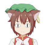 <|>_<|> 1girl :c animal_ears brown_hair cat_ears cato_(monocatienus) chen commentary eyebrows_visible_through_hair face frown hat jewelry looking_at_viewer portrait short_hair simple_background single_earring solo touhou white_background