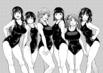 6+girls :d amagami arms_behind_back ayatsuji_tsukasa blush breasts curly_hair drill_hair eyebrows_visible_through_hair fukudahda greyscale groin hand_on_hip hands_on_hips highres large_breasts long_hair looking_at_viewer monochrome morishima_haruka multiple_girls nakata_sae nanasaki_ai one-piece_swimsuit open_mouth sakurai_rihoko school_swimsuit short_hair small_breasts smile swimsuit tanamachi_kaoru twintails