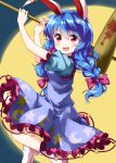 1girl :d animal_ears bangs blue_hair bow braid crescent_moon_print dress ear_clip eyebrows_visible_through_hair eyes_visible_through_hair frilled_dress frills full_moon hair_between_eyes hair_bow highres kine long_hair looking_at_viewer moon open_mouth puffy_short_sleeves puffy_sleeves purple_dress rabbit_ears red_eyes round_teeth ruu_(tksymkw) seiran_(touhou) short_sleeves smile solo star star_print teeth touhou twin_braids