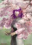 1girl artist_name branch cardigan cherry_blossoms commentary_request covered_eyes cowboy_shot dated dress emuson fate/stay_night fate_(series) faux_traditional_media flower hair_ribbon highres holding lips matou_sakura medium_hair parted_lips purple_hair red_ribbon ribbon signature solo tree