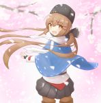 1girl :d absurdres belt black_belt black_bow black_footwear black_gloves black_headwear black_skirt blue_shawl boots bow brown_eyes brown_hair brown_legwear cherry_blossoms cowboy_shot eyebrows_visible_through_hair fingerless_gloves from_behind gloves hair_bow highres jacket kantai_collection long_hair looking_at_viewer low_twintails open_mouth pantyhose papakha pleated_skirt red_shirt ribbon_trim scarf shirt shonasan skirt smile solo star tashkent_(kantai_collection) thigh-highs thigh_boots torn_scarf twintails untucked_shirt white_jacket white_scarf