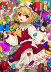 1girl :d absurdres ascot bangs black_gloves blonde_hair bow center_frills commentary_request cowboy_shot crystal daimaou_ruaeru eyebrows_visible_through_hair fang flandre_scarlet frilled_shirt_collar frills gloves hand_up hat hat_bow highres holding holding_pen lego light_particles long_hair long_sleeves looking_at_viewer mob_cap nail_polish one_side_up open_mouth pen petticoat puffy_sleeves puzzle_piece red_bow red_eyes red_nails red_skirt shirt single_glove skirt skirt_set smile solo standing stuffed_animal stuffed_toy teddy_bear thighs touhou toy_train white_headwear white_shirt wings yellow_neckwear