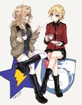 2girls blonde_hair boots coffee commentary_request darjeeling dog_tags emblem girls_und_panzer jacket kay_(girls_und_panzer) legs_crossed multiple_girls saunders_(emblem) smile st._gloriana's_(emblem) st._gloriana's_military_uniform talking tea thigh-highs white_background yuuyu_(777) zettai_ryouiki