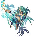 1girl alternate_costume aqua_eyes aqua_hair artist_name bishoujo_senshi_sailor_moon blue_gloves blue_nails breasts eclosion facial_mark gloves harp highres holding holding_shield holding_staff instrument kaiou_michiru large_breasts long_hair looking_at_viewer nail_polish shield simple_background solo staff tattoo tiara toenails watermark wavy_hair white_background