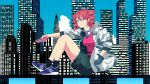 1girl absurdres black_legwear building casual cityscape clouds commentary_request full_body hand_in_pocket headphones headphones_around_neck highres holding holding_phone jacket kasane_teto knees_up ktdch looking_to_the_side phone red_eyes red_shirt redhead shirt shoes shorts sitting sky skyscraper smile sneakers solo utau