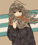 1girl bangs black_eyes blush brown_hair dutch_angle expressionless eyebrows_visible_through_hair hand_up highres long_hair long_sleeves looking_at_viewer orange_scarf original sakura_szm scarf solo striped striped_background upper_body wind winter_clothes