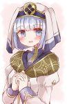 1girl blue_eyes blue_hair blush fire_emblem fire_emblem_echoes:_shadows_of_valentia open_mouth praying silque_(fire_emblem) solo sui_(aruko91) upper_body veil white_background