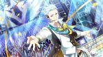 blue_eyes dress idolmaster idolmaster_side-m idolmaster_side-m_live_on_stage kuzunoha_amehiko short_hair smile white_hair