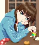 1girl blurry blurry_background blurry_foreground brown_hair can chin_rest earrings green_eyes hair_over_shoulder highres holding holding_can hood hood_down hooded_sweater idolmaster idolmaster_cinderella_girls jewelry kotatsu long_hair long_sleeves looking_at_viewer necklace shibuya_rin shiki_(0802makimari) shirt sitting smile snowflake_print solo sweater table under_kotatsu under_table white_shirt