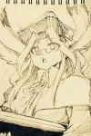1girl animal_ears aosa_(momikin) bazooka breath_of_fire breath_of_fire_iii commentary_request glasses gun hat long_hair millipen_(medium) momo_(breath_of_fire) monochrome rabbit_ears robe solo traditional_media weapon