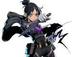 1girl apex_legends black_hair blue_eyes kunai pikat weapon wraith_(apex_legends)