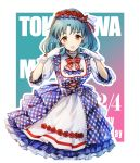 1girl :d apron blue_hair blue_skirt bow bowtie character_name cropped_legs echoes_(cassandratree) flower frilled_apron frilled_sleeves frills gloves hair_flower hair_ornament hair_ribbon hairband happy_birthday head_wreath idolmaster idolmaster_million_live! index_finger_raised layered_skirt long_hair looking_at_viewer medium_skirt open_mouth plaid plaid_skirt red_bow red_flower red_hairband red_neckwear red_ribbon ribbon shirt skirt smile solo standing striped striped_bow striped_neckwear striped_ribbon tokugawa_matsuri waist_apron white_apron white_gloves white_shirt yellow_eyes