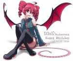 02g9 1girl absurdres arm_support ass bare_shoulders birthday boots collared_shirt commentary_request convenient_leg demon_wings detached_sleeves drill_hair finger_to_mouth full_body green_skirt grey_shirt hair_between_eyes headset heart high_heel_boots high_heels highres kasane_teto knees_up legs_crossed long_sleeves medium_hair nail_polish pleated_skirt red_eyes red_nails redhead shirt simple_background sitting skirt solo tail thigh-highs thigh_boots twin_drills utau white_background wide_sleeves wings