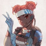 1girl ;p apex_legends backlighting backpack bag blue_gloves breasts cleavage coiled_cord commentary dark_skin double_bun elbow_pads english_commentary glove_pull gloves headband headset lifeline_(apex_legends) looking_at_viewer mask_around_neck medic medium_breasts nana_nakano one_eye_closed pink_hair red_eyes short_hair shoulder_tattoo solo surgical_mask tattoo tongue tongue_out upper_body v very_dark_skin