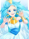 1girl blue_eyes blue_hair claw_pose commentary_request crown detached_sleeves earrings highres jewelry lion_tail mini_crown nail_polish precure princess_leo_(precure) solo star star_earrings star_princess star_twinkle_precure tail yu062424