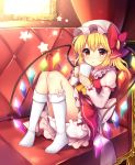 1girl absurdres ascot blonde_hair bloomers blush bow coffee_mug commentary_request couch crystal cup dress eyebrows_visible_through_hair flandre_scarlet frilled_dress frilled_shirt_collar frilled_sleeves frills full_body hair_bow hat highres holding holding_cup indoors juliet_sleeves kneehighs knees_up long_sleeves mob_cap mug no_shoes on_couch petticoat picture_frame pinafore_dress puffy_sleeves red_bow red_dress red_eyes red_skirt ruhika sash shiny shiny_hair short_hair skirt solo star steam tareme thighs touhou twitter_username underwear upskirt white_bow white_headwear white_legwear wings yellow_neckwear