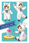 1boy animal_costume bear_costume black_hair bow brown_eyes child english_text highres katsuki_yuuri male_focus shaved_ice sitting spoon standing standing_on_one_leg table twc_(p-towaco) younger yuri!!!_on_ice