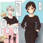 1girl 2boys black_gloves black_hair blonde_hair blue_eyes brown_eyes crossed_arms genderswap genderswap_(mtf) gloves hair_over_one_eye half_updo hand_on_own_stomach highres katsuki_yuuri multiple_boys open_mouth shaded_face shirt silver_hair smile sparkle t-shirt translation_request twc_(p-towaco) viktor_nikiforov yuri!!!_on_ice yuri_plisetsky