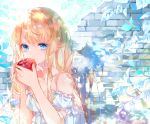 1girl apple bangs bare_shoulders blonde_hair blue_eyes breasts brick_wall closed_mouth commentary_request crying crying_with_eyes_open detached_sleeves dress eyebrows_visible_through_hair food fruit highres holding holding_food long_hair looking_at_viewer original puffy_short_sleeves puffy_sleeves recotasan red_apple short_sleeves sleeveless sleeveless_dress small_breasts solo tears upper_body very_long_hair white_dress white_sleeves