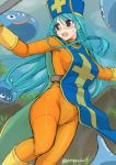 1girl asaga_aoi bangs blue_hair blue_headwear bodysuit breasts brown_eyes cross dragon_quest dragon_quest_iii elbow_gloves erect_nipples eyebrows_visible_through_hair gloves grass hair_between_eyes hat large_breasts long_hair mitre open_mouth orange_bodysuit priest_(dq3) slime_(dragon_quest) straight_hair tabard twitter_username v-shaped_eyebrows yellow_footwear yellow_gloves