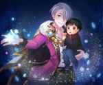 2boys black_hair blue_eyes brown_eyes cape carrying child fur_trim hair_over_one_eye katsuki_yuuri male_focus multiple_boys scarf shingeki_no_bahamut silver_hair smile snowflakes time_paradox twc_(p-towaco) viktor_nikiforov younger yuri!!!_on_ice