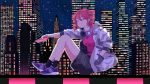 1girl absurdres black_legwear building casual cityscape full_body half-closed_eyes hand_in_pocket headphones headphones_around_neck highres holding holding_phone jacket kasane_teto knees_up ktdch looking_to_the_side night phone red_eyes red_shirt redhead shirt shoes shorts sitting sky skyscraper smile sneakers solo star_(sky) starry_sky utau