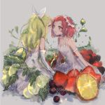 2girls 32_(rt_32_bbk) armlet assam blonde_hair blue_eyes blueberry breasts character_name cleavage closed_mouth dress elbow_gloves food formal fruit girls_und_panzer gloves grapes grey_background hair_pulled_back hair_ribbon head_wreath highres ivy leaf leaning_forward light_blush light_particles long_dress long_hair looking_at_another medium_breasts medium_hair minigirl multiple_girls open_mouth orange orange_slice ribbon rosehip sitting sketch smile spaghetti_strap strawberry sundress white_dress white_gloves white_ribbon