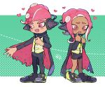 1boy 1girl :d agent_8 bike_shorts black_cape black_pants blush cape dark_skin fang full_body furrowed_eyebrows hands_up headgear heart highres kirikuchi_riku long_hair long_sleeves octarian octoling open_mouth pants pink_eyes pink_hair shoes short_hair single_vertical_stripe smile splatoon splatoon_(series) splatoon_2 splatoon_2:_octo_expansion squidbeak_splatoon standing suction_cups tentacle_hair torn_cape torn_clothes vest