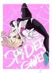 1girl \m/ aqua_eyes ass asymmetrical_hair blonde_hair bodysuit breasts character_name full_body gwen_stacy highres hirakata_masahiro hooded_bodysuit medium_breasts parted_lips pink_background short_hair silk skin_tight solo spider-gwen spider-man:_into_the_spider-verse spider-man_(series) spider_web spider_web_print upside-down