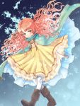 1girl boots curly_hair dress fire_emblem fire_emblem:_akatsuki_no_megami fire_emblem_heroes full_body highres long_hair nagisa_fe nintendo orange_eyes orange_hair smile solo spoilers yune