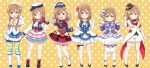 >:) 6+girls :d alternate_hairstyle ankle_strap aozora_jumping_heart ascot bangs black_footwear black_headwear black_neckwear black_ribbon blue_headwear blue_jacket blue_neckwear blue_shorts blush boots bow bowtie braid brown_eyes brown_hair clenched_hand coattails collared_shirt corset double_v dress earrings elbow_gloves female_service_cap flower frilled_sleeves frills full_body gloves hair_bow hair_flower hair_ornament hairband hand_up happy_party_train hat hat_flower hat_ribbon jacket jewelry kunikida_hanamaru long_hair long_sleeves looking_at_viewer love_live! love_live!_sunshine!! mezashi_(mezamashi_set) miniskirt mirai_ticket multiple_girls multiple_views neck_ribbon neckerchief open_mouth orange_background pendant plaid plaid_neckwear plaid_skirt pleated_skirt pointing pointing_at_self polka_dot polka_dot_background raglan_sleeves red_flower red_footwear red_neckwear red_skirt ribbon sailor_collar shell_hair_ornament shirt short_shorts short_sleeves shorts shorts_under_skirt single_elbow_glove single_glove skirt smile socks sparkle standing star striped striped_jacket striped_legwear suit_jacket thigh-highs thigh_ribbon twin_braids v water_blue_new_world white_footwear white_gloves white_headwear white_legwear white_shorts white_skirt yellow_eyes yellow_flower yellow_neckwear yellow_ribbon