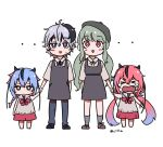 >_< 4girls androgynous beret blush_stickers child cillia crying dress flower_(vocaloid) full_body gradient_hair green_hair hand_holding hat meika_hime meika_mikoto multicolored_hair multiple_girls pink_eyes pink_hair purple_hair short_hair shorts skirt smile streaked_hair sweatdrop twintails twitter_username v_flower_(vocaloid4) violet_eyes vocaloid xin_hua younger