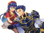 1boy 1girl armor blue_eyes blue_hair cape dress father_and_daughter fire_emblem fire_emblem:_fuuin_no_tsurugi fire_emblem:_rekka_no_ken fire_emblem_heroes gauntlets gloves grin hand_holding hat hector_(fire_emblem) highres holding intelligent_systems lilina long_hair nintendo pauldrons renkonmatsuri smile