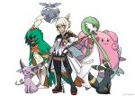 1girl absurdres animal_ear_fluff animal_ears arm_at_side black_eyes blissey blonde_hair blue_eyes boots bright_pupils carbink closed_mouth coat creatures_(company) crossover decidueye espeon facial_mark final_fantasy final_fantasy_xiv floating full_body game_freak gardevoir gen_2_pokemon gen_3_pokemon gen_6_pokemon gen_7_pokemon grey_eyes haimerejzero hand_up highres holding holding_poke_ball holding_staff holding_wand lips long_sleeves looking_at_viewer miqo'te nintendo overcoat platinum_blonde_hair poke_ball poke_ball_(generic) pokemon pokemon_(creature) purple_sclera red_eyes red_sclera short_hair shorts sideways_glance simple_background slit_pupils smile staff standing tail thigh-highs thigh_boots umbreon wand watermark white_background white_pupils y'shtola_rhul