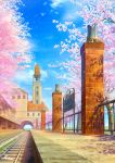 animal arch bell bench blue_sky building cat cherry_blossoms clouds commentary_request day kaitan no_humans original outdoors petals railing railroad_tracks scenery sign signature sky tower tree