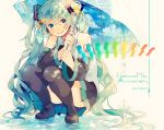 1girl 2017 anniversary black_legwear black_skirt blue_eyes blue_hair blue_nails blue_sky character_name clouds cloudy_sky colorful dappled_sunlight dated day detached_sleeves edward-el eyebrows_visible_through_hair fingernails grey_shirt happy hatsune_miku head_tilt headphones hexagon highres kneeling long_hair looking_at_viewer nail_polish number_tattoo rainbow see-through shirt shoulder_tattoo signature simple_background skirt sky sleeveless sleeveless_shirt smile solo standing standing_on_liquid sunlight tattoo thigh-highs thighs twintails umbrella very_long_hair vocaloid water water_drop white_background