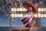 1girl absurdres brown_eyes brown_hair cherry_blossoms flower full_body geta hair_flower hair_ornament highres holding holding_umbrella japanese_clothes kantai_collection kimono kocona lantern long_hair multicolored multicolored_clothes multicolored_kimono obi oriental_umbrella paper_lantern petals pink_flower ponytail red_kimono red_umbrella sash solo standing tabi tree tree_branch umbrella very_long_hair white_kimono white_legwear wide_sleeves yamato_(kantai_collection)