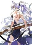 1girl ahoge ass back backless_dress backless_outfit belt breasts cleavage dress formal granblue_fantasy gun hair_between_eyes highres large_breasts long_hair looking_at_viewer mansu muscular_female ponytail silva_(granblue_fantasy) silver_hair solo very_long_hair weapon white_background yellow_eyes