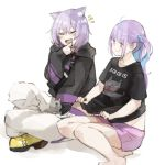 2girls :d ahoge animal_ear_fluff animal_ears bangs barefoot black_eyes black_hoodie black_shirt blue_hair blush cat cat_ears cat_girl cat_tail closed_eyes clothes_writing collarbone colored_inner_hair commentary_request eyebrows_visible_through_hair finger_to_chin grey_fur hair_between_eyes hair_bobbles hair_ornament highres hololive hood hood_down hoodie kase_(kurimuzone_oruta) laughing long_sleeves looking_at_another midriff minato_aqua multicolored_hair multiple_girls neko_(minato_aqua) nekomata_okayu notice_lines on_floor open_mouth pants purple_hair purple_shorts shirt shirt_lift shoes short_hair short_shorts short_sleeves shorts simple_background sitting smile smug t-shirt tail tearing_up temari_(nekomata_okayu) twintails two-tone_hair violet_eyes virtual_youtuber whiskers white_background yellow_footwear yokozuwari