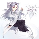 1girl albino apo_(apos2721) bangs bow crystal eyebrows_visible_through_hair hair_bow highres ice_crystal long_hair long_sleeves looking_at_viewer melty_blood pointing pointing_at_viewer pointy_ears red_eyes simple_background smile solo tsukihime white_background white_hair white_len