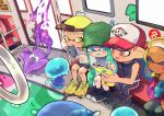 1boy 3girls :d ankle_boots aqua_hair baseball_cap bike_shorts black_footwear black_pants blonde_hair blue_eyes blush boots closed_eyes closed_mouth dark_skin detached_sleeves domino_mask fang fingerless_gloves gloves green_eyes green_headwear grey_gloves hand_up hat holding inkling jellyfish_(splatoon) kirikuchi_riku long_hair looking_at_viewer mask multiple_girls octarian octoling open_mouth paint pants pink_eyes pink_hair pointy_ears shirt shoelaces shoes short_hair single_detached_sleeve single_vertical_stripe sitting sliding_doors smile splatoon splatoon_(series) splatoon_2 squid tentacle_hair train_interior v-neck visor_cap white_shirt yellow_footwear