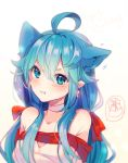 1girl :t ahoge animal_ears artist_name bangs bare_shoulders blue_eyes blue_hair blush borrowed_character bow cat_ears cat_girl choker closed_mouth collarbone commentary ear_wiggle earrings english_commentary eyebrows_visible_through_hair gift gradient gradient_background hair_between_eyes hyanna-natsu jewelry long_hair looking_at_viewer low-tied_long_hair low_twintails mole mole_under_mouth motion_lines off_shoulder original pink_background pout solo star star_earrings twintails upper_body v-shaped_eyebrows white_choker