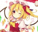 1girl ;) absurdres ascot bangs beige_outline blonde_hair blush bow commentary_request crystal doughnut eyebrows_visible_through_hair flandre_scarlet food frilled_shirt_collar frills hair_bow hands_up hat heart heart_of_string highres holding holding_food lace_trim looking_at_viewer mob_cap one_eye_closed one_side_up outline pastry polka_dot polka_dot_background puffy_short_sleeves puffy_sleeves red_bow red_eyes red_vest ruhika shirt short_hair short_sleeves smile solo touhou upper_body vest white_background white_headwear white_shirt wings wrist_cuffs yellow_neckwear